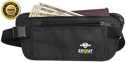 SUPER SPECIAL Zegur Tm HIGH QUALITY MONEY BELT Lightweight Undercover Waist Pouch - Best to Protect Yourself From Travel Theft - Wallet Stash Made with Special Mesh Backing for BREATHABLE & MOISTURE-WICKING for MAXIMUM COMFORT - Elastic Belt with ADJUSTABLE Buckles - 2 Zippered Pockets for Passport and Cash + 2 Mesh organizer Pockets - For Women & Men - 100% Satisfaction Guaranteed LIFETIME MONEY BACK WARRANTY - LIMITED TIME LOW PRICE OFFER - (Black)