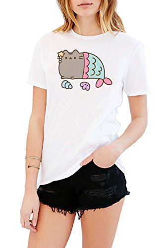 Pusheen The Cat Mermaid Juniors White T-shirt 41llnP2 NNL