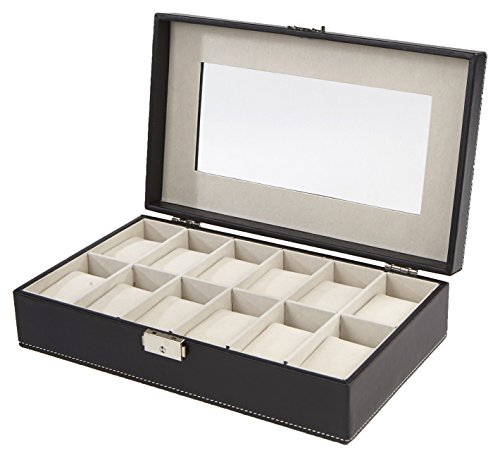 Mind Reader Watch Box Organizer Case, Fits 12 Watches, Mens Jewelry Display Drawer Storage, PU Leather, Black