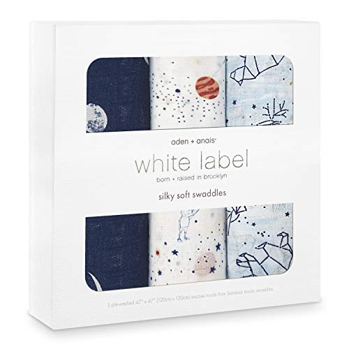 aden + anais Silky Soft Swaddle Baby Blanket, White Label, 3-Pack Stargaze