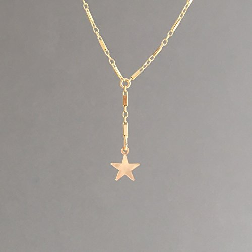 Single Star Bar Lariat Necklace available in Gold or Silver -