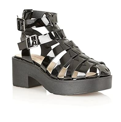 a0ab58f7b40 Dolcis Womens Ladies Cut Out Chunky Block Heel Ankle Strap Gladiator ...