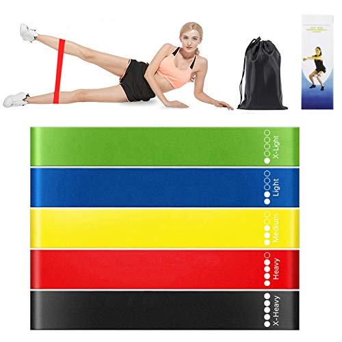 CHUNGHOP Exercise Fitness Resistance Bands Perfect for Fitness, Yoga,Crossfit, Stretching, Strength Training etc, with Instruction, Carry Bag, Resistance Loop Exercise & Workout Bands Set of 5