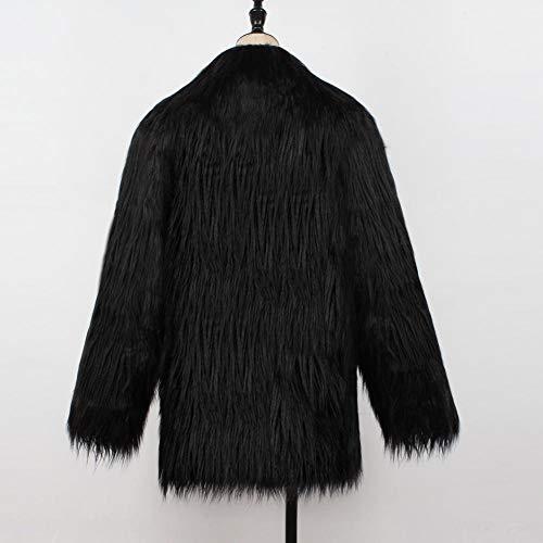 Negro Sintética e Abrigo Chaqueta Mujer Outwear Piel Chaqueta Fur InviernoF0001 Coat Mujer Piel de Biback Otoño Mujeres Abrigada Una Shaggy Invierno Abrigo sintética Faux OngXwExqEI
