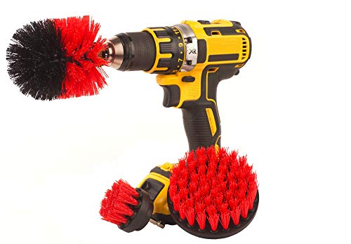 Corded Brush - Drill attachment 3 Piece Medium and Stiff brush kit, cleaning time saver for kitchens, bathrooms, showers, tubs, tile, grout, carpet, car tires, boats, DIY power scrubber. (Red, Nylon)