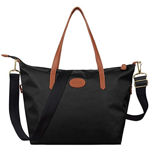 ecosusi-women-fashion-nylon-shoulder-tote-bag-medium-travel-handbags-black-purse