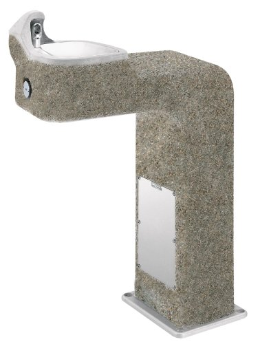 Haws 3177FR Vibra-Cast Reinforced Barrier-Free Freeze-Resistant Concrete Pedestal Drinking Fountain with Exposed Aggregate Finish (Freeze-Resistant Valve Not Included)