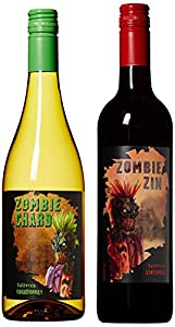 Zombie Party Craft Wine Mixed Pack Non-Vintage California Chardonnay White Wine and Zinfandel Red Wine 2 x 750 ml