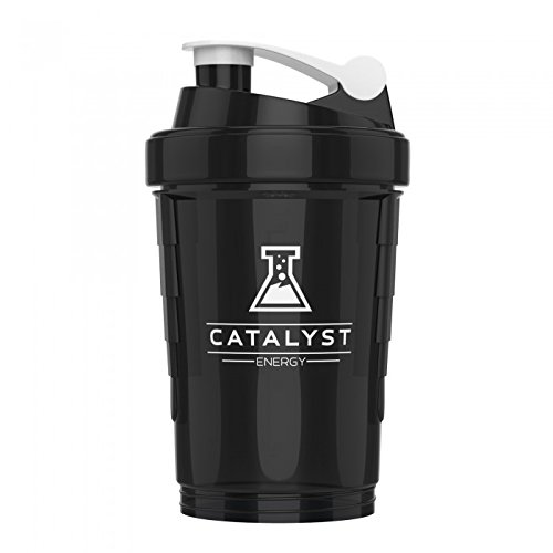 Catalyst Caffeinated Gaming Fuel Energy Powder Drink Mix Shaker Bottle| Built In Metal Mixer | 3 Supplement Compartments | Cup | BPA Free | 18 Ounce, White by Catalyst (Image #2)