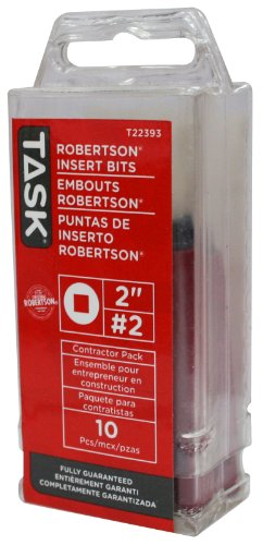 Task Tools T22393 2-Inch Robertson Screwdriver Power Insert Bits,  Number-2, Tube of 10 - Bit Robertson Power