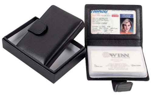 Black Cowhide Nappa Leather Mini Business Card Holder II Color: Black