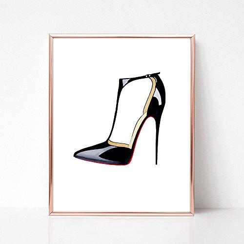 (Black Patent Stiletto Heels Fashion Illustration Art Print)