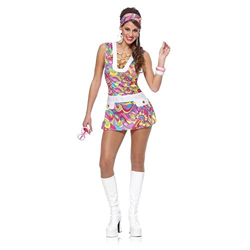 60s Groovy Chic Sexy Adult Halloween Costume Size 12-14 Large, White, Large