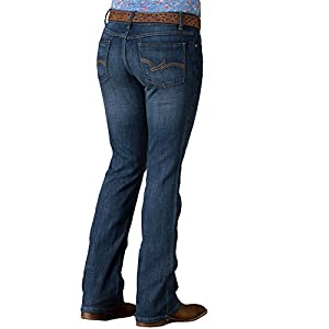Wrangler Women's Western Mid Rise Stretch Boot Cut Jean, Blue, 0X32