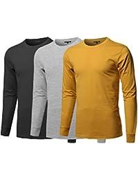 Men's Causal Solid Basic 100% Ring Spun Cotton Long Sleeve T-Shirt