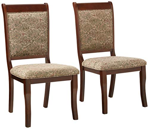 Furniture of America Bernette Transitional Style Side Chair, Antique Cherry Finish, Set of 2