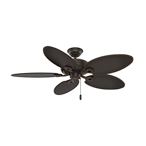 Casablanca Indoor / Outdoor Ceiling Fan, with pull chain control – Charthouse 54 inch, Onyx Bengal, 55073,Large