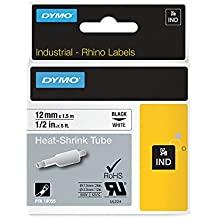 "DYMO Authentic Industrial Heat Shrink Tubes for  LabelWriter and Industrial Label Makers, Black on White, 1/2"", (18055)"