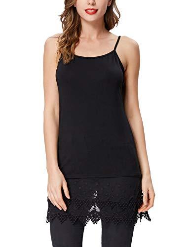 Women's Lace Trim Bottom Cotton Tank Top Mini Dress Shirt Tunics (M,Black 1058)