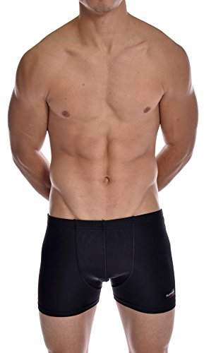 (PLATINUM SPORT Men's Solid Swimming Square Leg Boxer Swimsuit New Black)