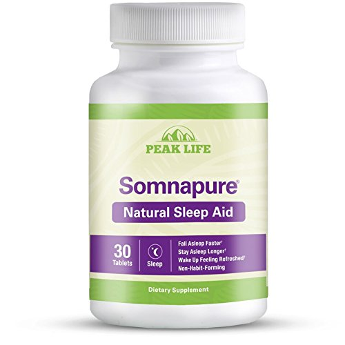 Somnapure Natural Sleep Aid with Melatonin, Valerian, and Chamomile, Non-Habit-Forming Sleeping Pill, Fall Asleep and Stay Asleep, Peak Life, 30 Count