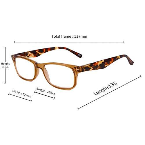 rectangulaire 3 en de résine femmes 2 cadre lecture 2 de 5 lentille 1 4 0 Pack Inlefen 5 3 lunettes 0 plein Marron Lunettes et 1 5 0 Hommes lecture znIwvEP4x
