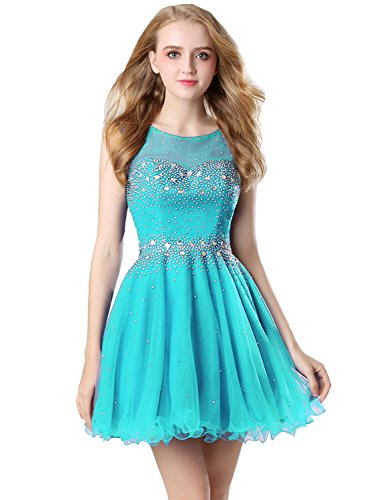 765329dc5 Clearbridal Tulle A Line Turquoise Homecoming Dresses 2017 Short For Juniors  Sheer Neck Prom Dresses Ball Gown With Beads - Buy Online in Oman.
