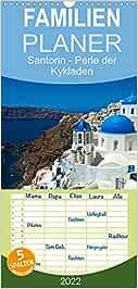 Santorin - Perle der Kykladen - Familienplaner hoch (Wandkalender 2022 , 21 cm x 45 cm, hoch): Santorin - mit seinen malerischen Dörfern und ... südlichen Ägäis (Monatskalender, 14 Seiten )