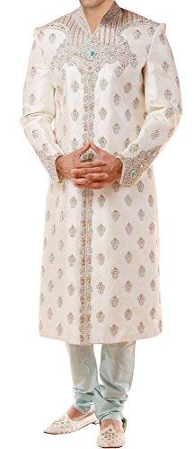 INMONARCH Mens Attractive Designer Traditional Bollywood Sherwani SH215 40R Cream