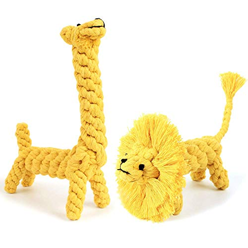 SLSON Dog Rope Toys 2 Pack, Cotton Rope Pet Chew Toys Animal Design Lion and Giraffe Interactive Toys for Small Dog Puppy Medium Dog