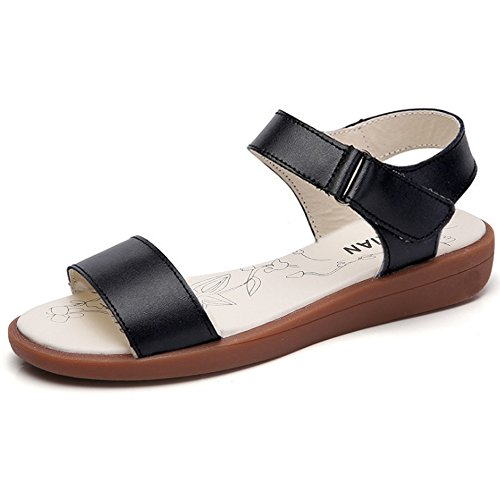 Y&Mai Velcro Simple Sandals All-Match Flat Loafers Women Summer Black EjlUhEvS9
