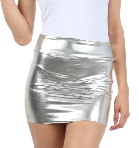 Sakkas 6924 Women's Shiny Metallic Liquid Mini Skirt - Silver - Small ()