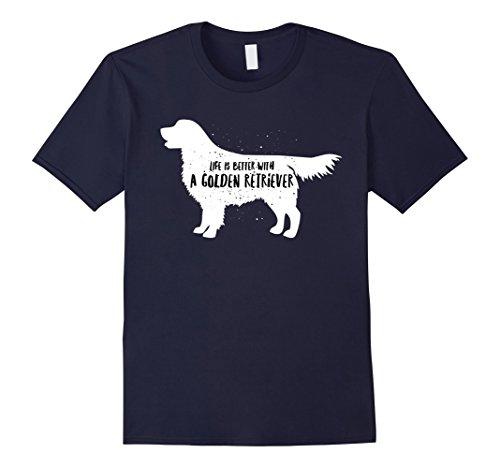 Men's Life is better with a golden retriever dog t-shirt Large (Retriever T-shirt Tee)