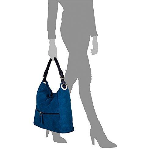 Tacto VERA ARTEGIANI Bolso in ITALY PELLE Shopper Bolso Bolso Bolso VERDE cm gamuza piel ITALIANA auténtica mujer Color Made Shopper mujer cuero genuino 37x36x15 Azul FIRENZE suave hombro RvdqR