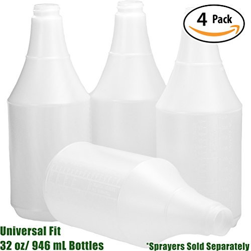 Mop Mob Commercial-Grade Chemical Resistant 32 oz Bottles ONLY 4 Pack By Embossed Scale For Measuring. Pair With Industrial Spray Heads For Auto/Car Detailing, Janitorial Cleaning Supply or Lawn Care from Mop Mob