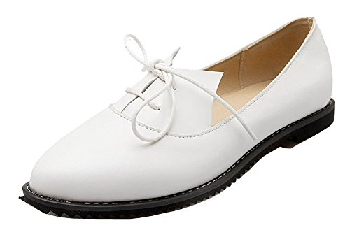 Shoes Low Pumps White PU Pull On Solid Toe Heels Round Odomolor Women's UqFw66