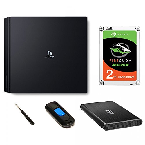 Fantom Drives PS4 Hard Drive Upgrade Kit with 2 TB Ultra Speed Seagate Firecuda Gaming SSHD (SSD+Hard Drive) 5 Year Warranty