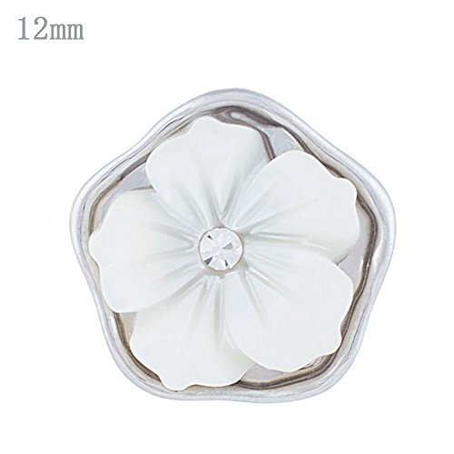 Lovmoment Snap 12MM White Flower Shape Silver Plated with Shell Snap Button Jewelry Charms