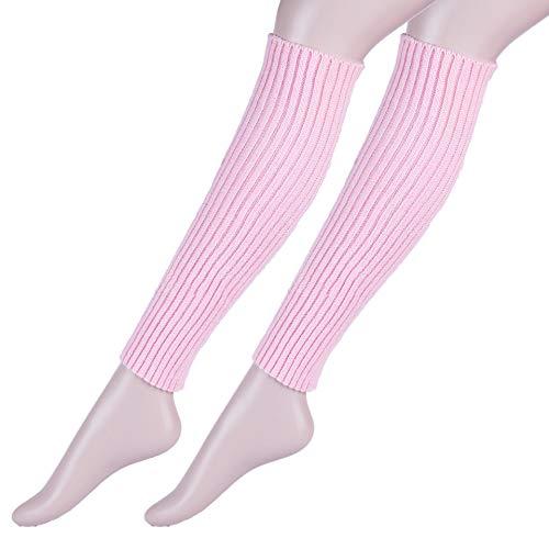 Song Qing Girls Teen 80s Dance Plain Ribbed Women Knit Crochet Long Leg Warmers Fancy Dress (Pink 2pairs) -