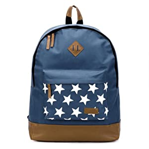 The Pecan Man Blue Star Rucksack Satchel Travel School Bag Canvas Stars Backpack