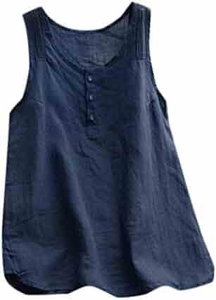 82de0add9e5 GOWOM Women Casual Plus Size Linen Tops Tee Vintage Solid Sleeveless Loose  Vest Blouse