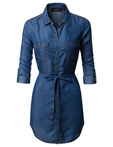 it Long Sleeve Tencel Denim Shirt Dress With Belt (Chambray Womens Dress)