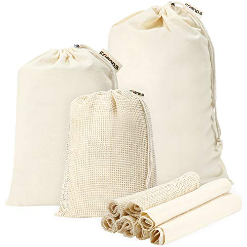 10 Fruit - Frienda Reusable Cotton Muslin Produce Bags 10 Pieces, 5 Mesh Grocery Shopping Bags (S, M, L) and 5 Organic Muslin Storage Bags (S, M, L), Fruits Storage, Washable and Reusable, Tare Weight on Label