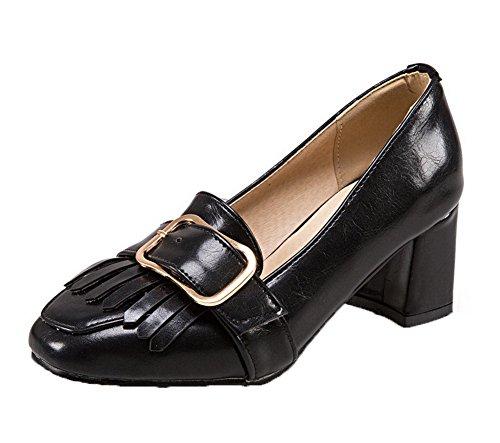 Bout Chaton Chaussures Odomolor À Pompes Talons Carré Femmes Solide Noires Des Pu qaa7XA