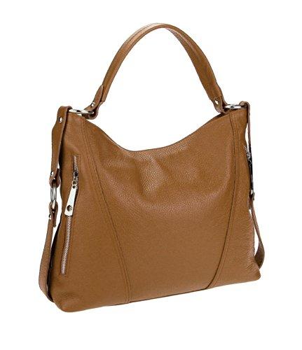 Made in Italy Damen Tasche Shopper Henkeltasche Umhängetasche Tasche City Bag Schultertasche Crossover (Cognac)