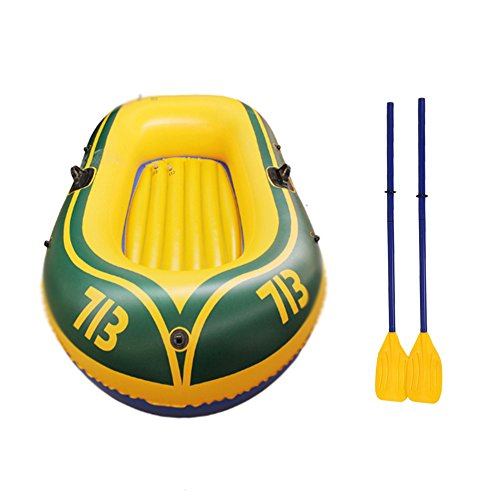 Cosway 2-Person Inflatable Boat for Hot Summer Vacation with a Pair French Oars, High Output Air Pump, Grab Rope and Repaire Bag 70''× 44.5''