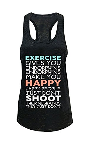 Tough Cookie's Women's Exercise Give You Endorphins Burnout Tank Top (Medium, Black)