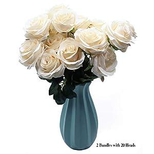 DAMOOSS Rose Flower Bouquet 2 Bundles with 20 Heads,Artificial Silk Rose Flower Perfect for Birthdays, Wedding or Anniversary 84