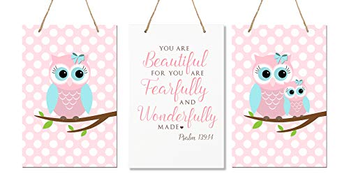 LifeSong Milestones You are Fearfully and Wonderfully Made Psalm 139:14 3pc Owl Wall Decor Decorations Signs for Kids, Bedroom, Nursery, Baby Boys and Girls Room Size 8