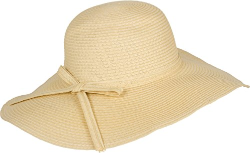 Sakkas FL2095 - Katy Wide Brimmed Straw Floppy Hat With Straw Bow - Natural - - Katy Mall Stores